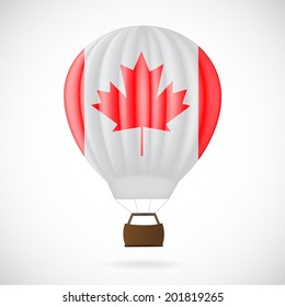 Balloon with Canadian flag isolated on white