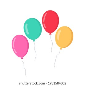 Balloon in cartoon style. Bunch of balloons for birthday and party. Flying ballon with rope. Blue, red and yellow ball isolated on white background. Flat icon for celebrate and carnival. Vector.