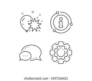 Balloon dart line icon. Chat bubble, info sign elements. Amusement park sign. Pop the balloon symbol. Linear balloon dart outline icon. Information bubble. Vector