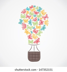 balloon design with colorful butterfly vector