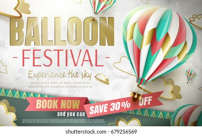 Balloon festival ads in 3d illustration with lovely hot air balloon isolated on paper cut background