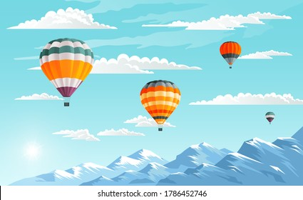 Balloon Festival, mountain landscape. Aircraft are floating in the blue sky. Hot airy aerostat in the clouds. Colorful hot air balloons flying over mountains. Love to travel concept. Vector image