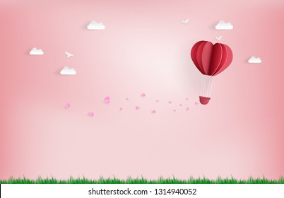 Balloon flying over Cloud with pink heart float on the sky.Illustration of Love and Valentine day, in the meadows , Digital paper craft style.Paper art of pink background.