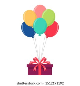 Balloon with giftbox vector design illustration isolated on white background