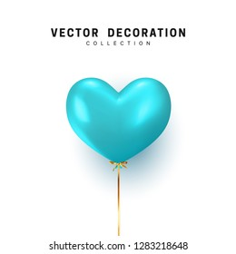 Balloon heart shape isolated on white background. Holiday element design realistic baloon with gold ribbon and bow