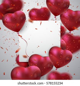 Balloon Hearts. Vector holiday illustration of flying bunch of red balloon hearts, paper banner and confetti particles. Valentines Day or Wedding invitation festive decoration