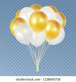 Balloon helium bunch isolated on transparent background. Realistic gold and white ballon group with transparency. Vector design.