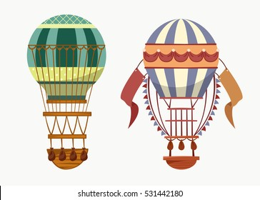 Balloon with hot air for travelling transport. Fly of old striped mechanism with basket for recreation or sport, travel or tourism, journey or trip. Outdoor leisure logo or flying sport banner