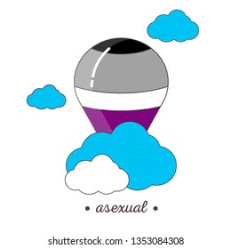 Balloon icon. Colourful lgbt pride movement sign for asexual people.