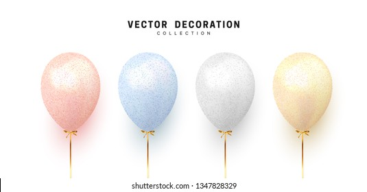 Balloon isolated on white background. Holiday element design realistic baloon with gold ribbon and bow