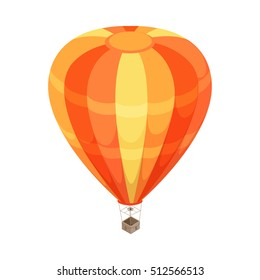 Balloon isometric projection icon. Orange striped hot air balloon with basket vector illustration isolated on white background. For game environment, transport infographics, logo, web design