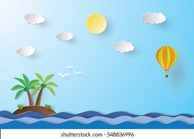 Balloon over the sea and Island, paper art style.