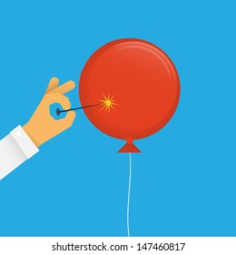 Balloon Pop Vector drawing of a hand popping a red balloon with a pin.