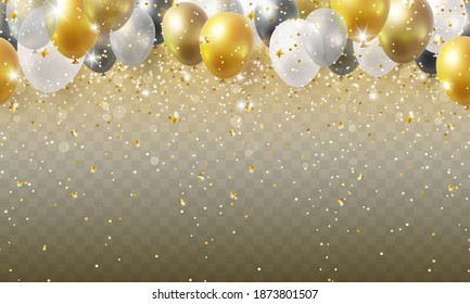 Balloon seamless border with shiny gold glitter and star confetti isolated on transparent background. Vector realistic golden festive 3d helium baloons banner for anniversary, birthday party design