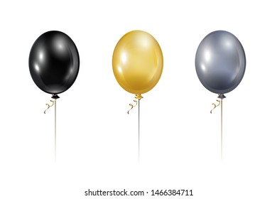 Balloon set. Golden, Silver, Black realistic balloons isolated on white background. Transparent helium ball vector illustration.