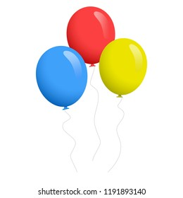 Balloon set isolated on white background. Cartoon flat style balloons for web site,poster,placard and wallpaper.Useful for greeting and wedding card,mobile app.Creative modern art,vector illustration