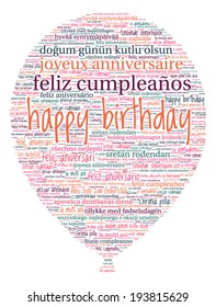 Balloon Shaped Happy Birthday Concept in Word Cloud