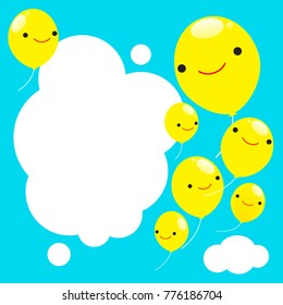 balloon sky smile pattern happy yellow frame