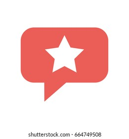 Balloon and star icon. Recommendations symbol. Social media. Network. Flat design. Vector illustration.