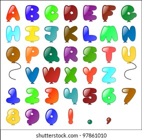 Balloon themed Alphabet (including numbers and some punctuation).