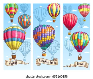 Balloon tour travel banner set. Hot air balloon with basket flying in blue sky sketch with vintage ribbon banner and paper scroll below for air travel, holiday adventure, retro transportation design