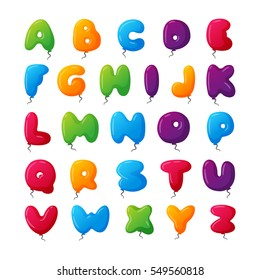 Balloon vector alphabet character set illustration with kids style toys colorfull air balls isolated on white Birthday celebration event ABC baby design