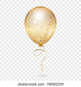 Balloon - Vector illustration of gold shiny balloon - transparent background
