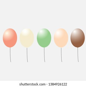 balloon vector with a variety of colors typical of ice cream
