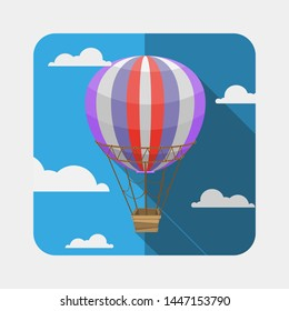 balloon vector vintage colorful icon long shadow