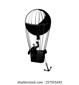 Balloon  in vintage style. Isolate on white background. Black and white illustration