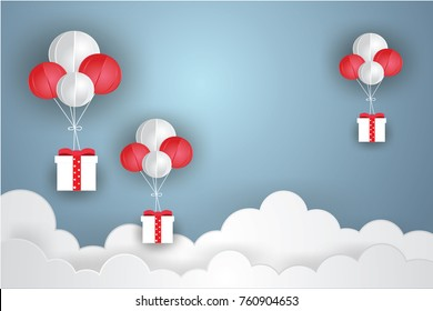 Balloon white floating and Gift Box on in the air blue sky background.Paper and craft art