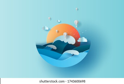 Balloon white hot air of Sea wave view landscape sunlight. travel in holiday summer season circle concept. Graphic design paper cut and craft style. Simple Vacation summertime idea pastel background