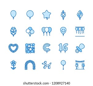 Balloonery flat line icons. Balloons for birthday party decoration, star, heart shape, confetti, foil balloon vector illustrations. Thin signs romantic present. Pixel perfect 64x64. Editable Strokes.