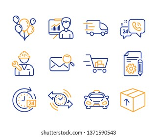 Balloons, 24h service and Timer icons simple set. Documentation, Shopping cart and 24h delivery signs. Search mail, Taxi and Truck delivery symbols. Repairman, Presentation and Package. Vector