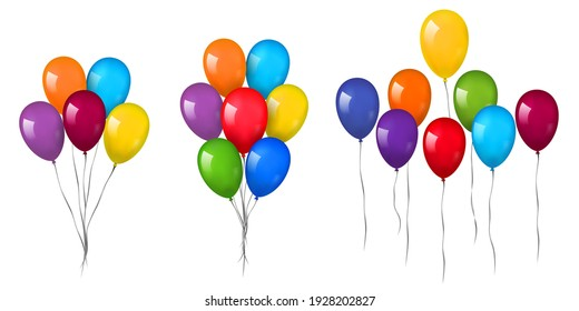Balloons 3D bunch set, thread, isolated white background. Color glossy flying baloon, ribbon, birthday celebrate, surprise. Helium ballon gift. Realistic shape, symbol love, fun. Vector illustration