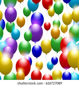 Balloons of all colors of the rainbow. Seamless festive pattern. Vector