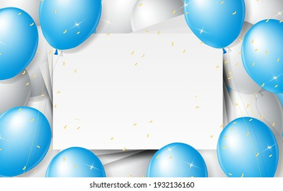 Balloons Background. Celebrate party banner with helium baloons and confetti. Festive template with birthday and anniversary with space for text. Decorative realistic objects for poster. Vector