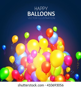 Balloons Background with Various Colors. Birthay Party, Congratulations & Win Design. Vector illustration