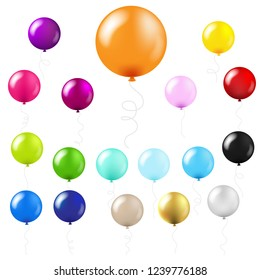 Balloons Big Set With Gradient Mesh, Vector Illustration