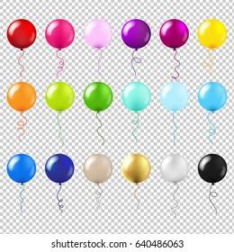 Balloons Big Set Gradient Mesh, Vector Illustration