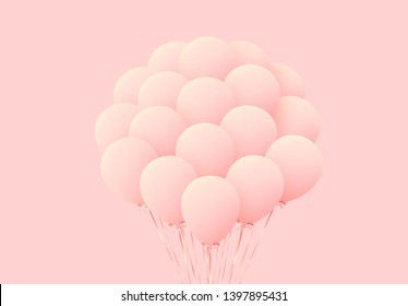 Balloons Bunches Realistic Isolated on pink Background.