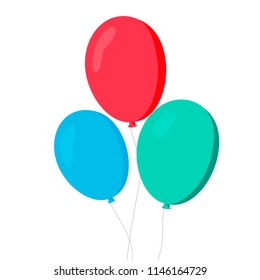 Balloons in cartoon. Flat style isolated on white background. Vector set EPS10