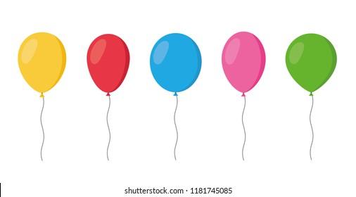 Balloons in cartoon flat style isolated set on white background - stock vector.