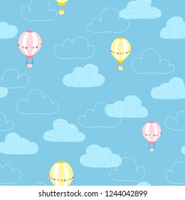 Balloons in the clouds. Baby vector seamless pattern in simple hand-drawing style. Good for textiles, fabrics, bedding, wrapping paper, scrapbooking, etc.
