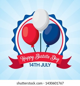 balloons decoration badge happy bastille day vector illustration