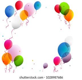 Balloons. Festive decoration. Multicolored. Flying. Vector. Celebration.