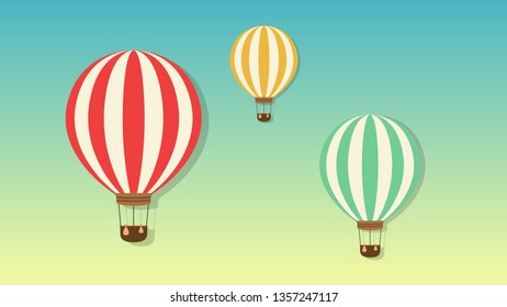 Balloons floating on the sky vector. wallpaper.
