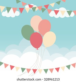 balloons flying in the sky, party background with colorful balloons and pennants, flat design style