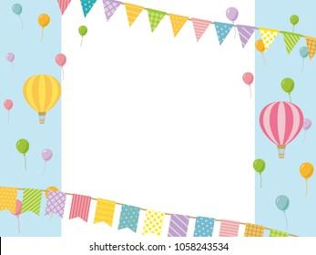 Balloons and garland girly vector frame.