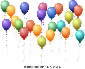 Balloons group isolated vector graphic design in spectrum rainbow colors. Carnival or music festival decoration. Marvelous helium flying balloons isolated bunch, group of party decor objects.